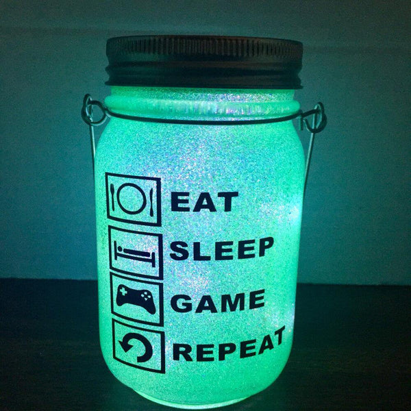 Eat Sleep Game Repeat Solar Lantern