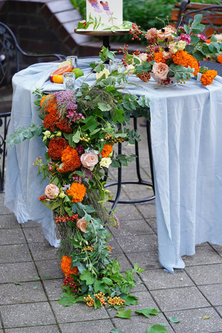 cascading floral design for tables