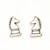 Silver Chess Post Earrings