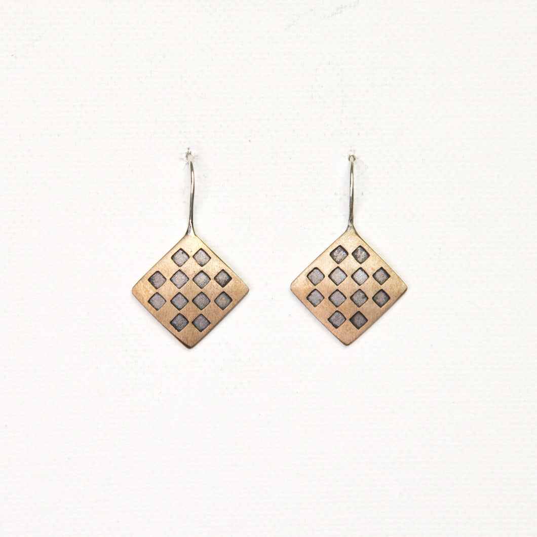 Brass Chess Hook Earrings