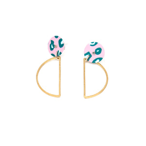 Green Lined Leopard Stud Earrings