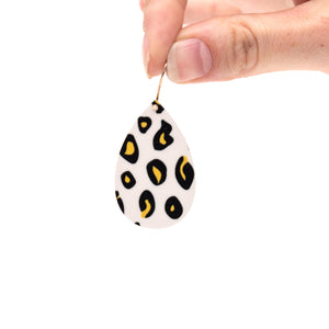 Black Lined Leopard Teardrop Earrings