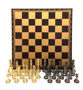 "4"" Brass Classic Chess Set on Brown & Gold Board"