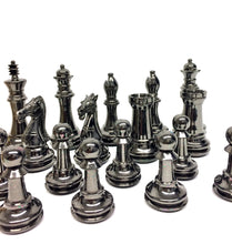 "Load image into Gallery viewer, 4"" Brass Classic Chess Set on Brown & Gold Board"