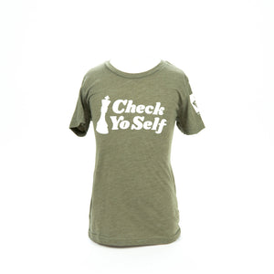 Check Yo Self 2.0 Youth Tee - Olive Triblend