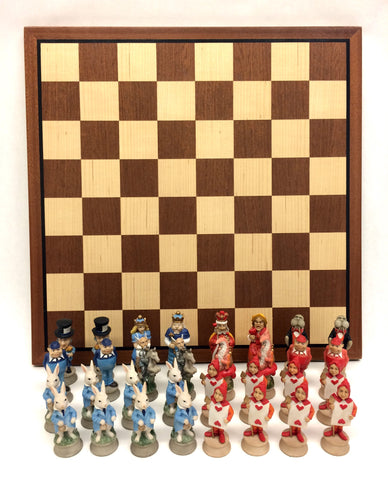 Alice in Wonderland Painted Resin Chess Set