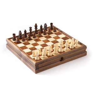 "3"" Wooden Chessmen with Inlaid Chest Drawer"
