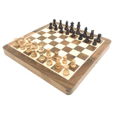 "Load image into Gallery viewer, 10"" Magnetic Wood Chess/Checkers/Backgammon Combo Set"
