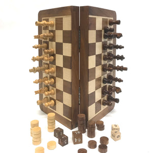 "10"" Magnetic Wood Chess/Checkers/Backgammon Combo Set"