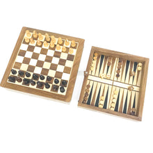 "Load image into Gallery viewer, 7"" Magnetic Chess Checkers Backgammon Combo with Slide Drawer"