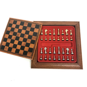 "6.5"" Leather Chessboard with Magnetic Pieces"