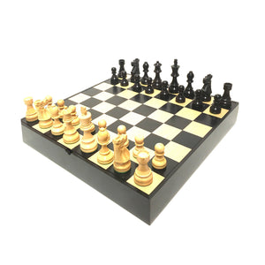 "3.75"" French Black Boxwood Chess Set with Maple Storage Board"