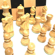 "Load image into Gallery viewer, 3.75"" French Black Boxwood Chess Set with Maple Storage Board"