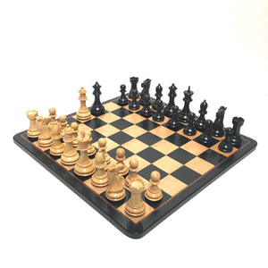 "4"" Exclusive Black/Natural Chess Set"