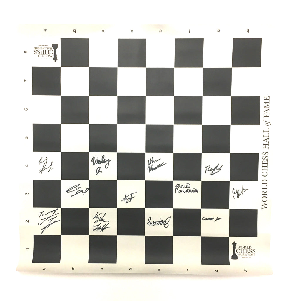 IMPERFECT 2015 US & Women's Chess Championship Autographed Roll Up Board