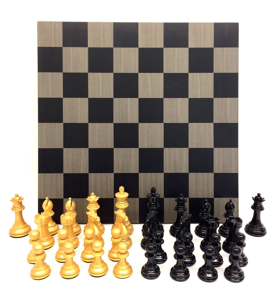 Black Vs. Gold Bold Chess with Grey Board