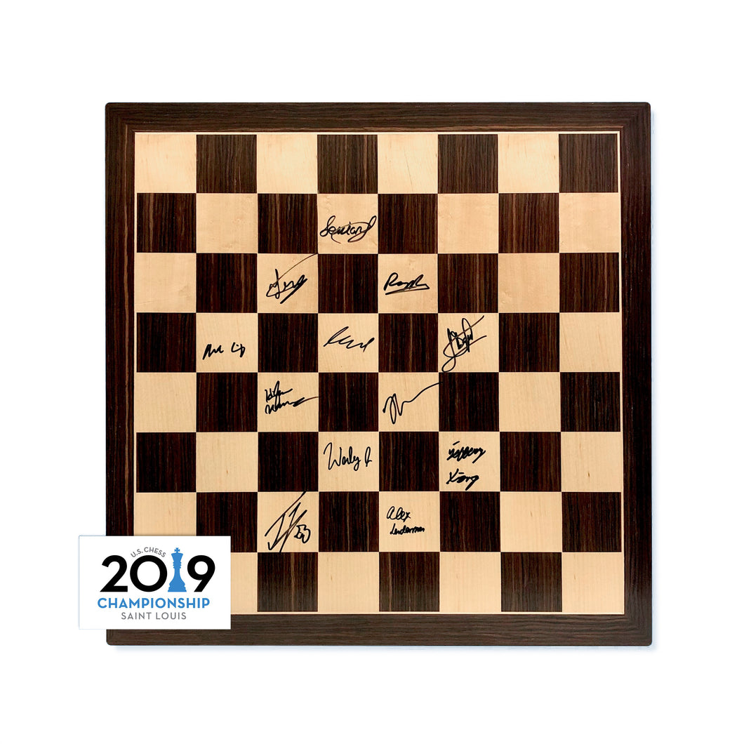 2019 US Chess Championship Autographed Wooden Board