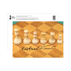 Staunton Standard Postcards - Chess Pieces and Signed Board