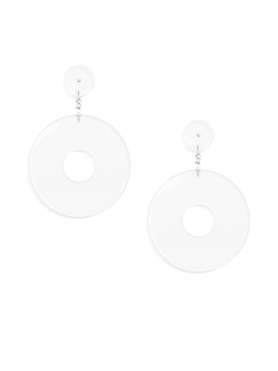 Flat chunky lucite drop hoop earring - clear