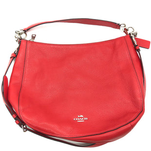 "Primary Photo - BRAND: COACH STYLE: HANDBAG DESIGNER COLOR: RED SIZE: MEDIUM SKU: 262-26275-74687APPROX. 13""L X 10.75""H X 4""D. MAY BE COUPLE VERY SLIGHT SPOTS NEAR CORNERS, GREAT OVERALL CONDITION"