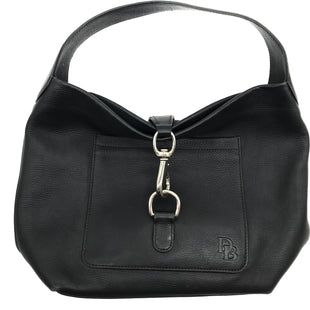 "Primary Photo - BRAND: DOONEY AND BOURKE STYLE: HANDBAG DESIGNER COLOR: BLACK SIZE: MEDIUM SKU: 262-26275-68395APPROX. 14""L X 10.5""H. COUPLE SLIGHT SPOTS TO CLASP, INTERIOR"