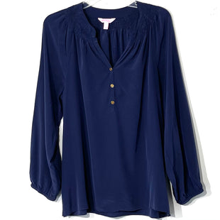Primary Photo - BRAND: LILLY PULITZER STYLE: BLOUSE COLOR: NAVY SIZE: L SKU: 262-26211-143455100% SILKDESIGNER FINAL