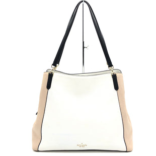 "Primary Photo - BRAND: KATE SPADE STYLE: HANDBAG COLOR: BLACK WHITE SIZE: 12.5""H X 16""L X 5""WDROP: 10""SKU: 262-26211-143507SLIGHT BLUE STAINS ON THE WHITE PART OF THE BAG • GENTLE WEAR ON BOTTOM CORNERS • AS IS"