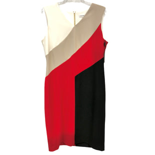 Primary Photo - BRAND: CALVIN KLEIN STYLE: DRESS SHORT SLEEVELESS COLOR: MULTI SIZE: 14 (US: APPROX. XL)OTHER INFO: WHITE BG RD BLK SKU: 262-26241-47701