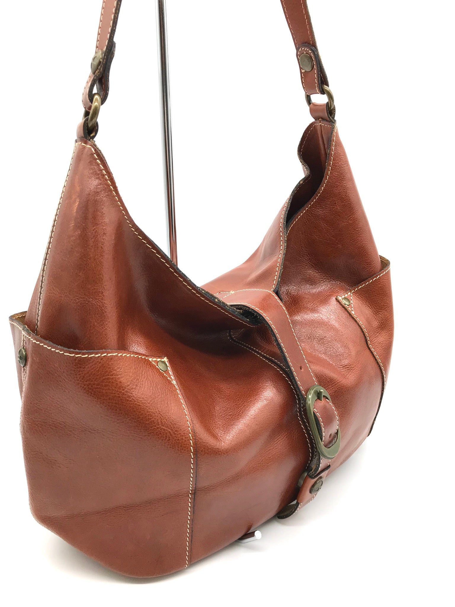 Photo #2 - BRAND: PATRICIA NASH <BR>STYLE: HANDBAG <BR>COLOR: BROWN <BR>SIZE: MEDIUM <BR>SKU: 262-26275-64345<BR>GENTLE WEAR SHOWS AS BOTTOM CORNERS - AS IS
