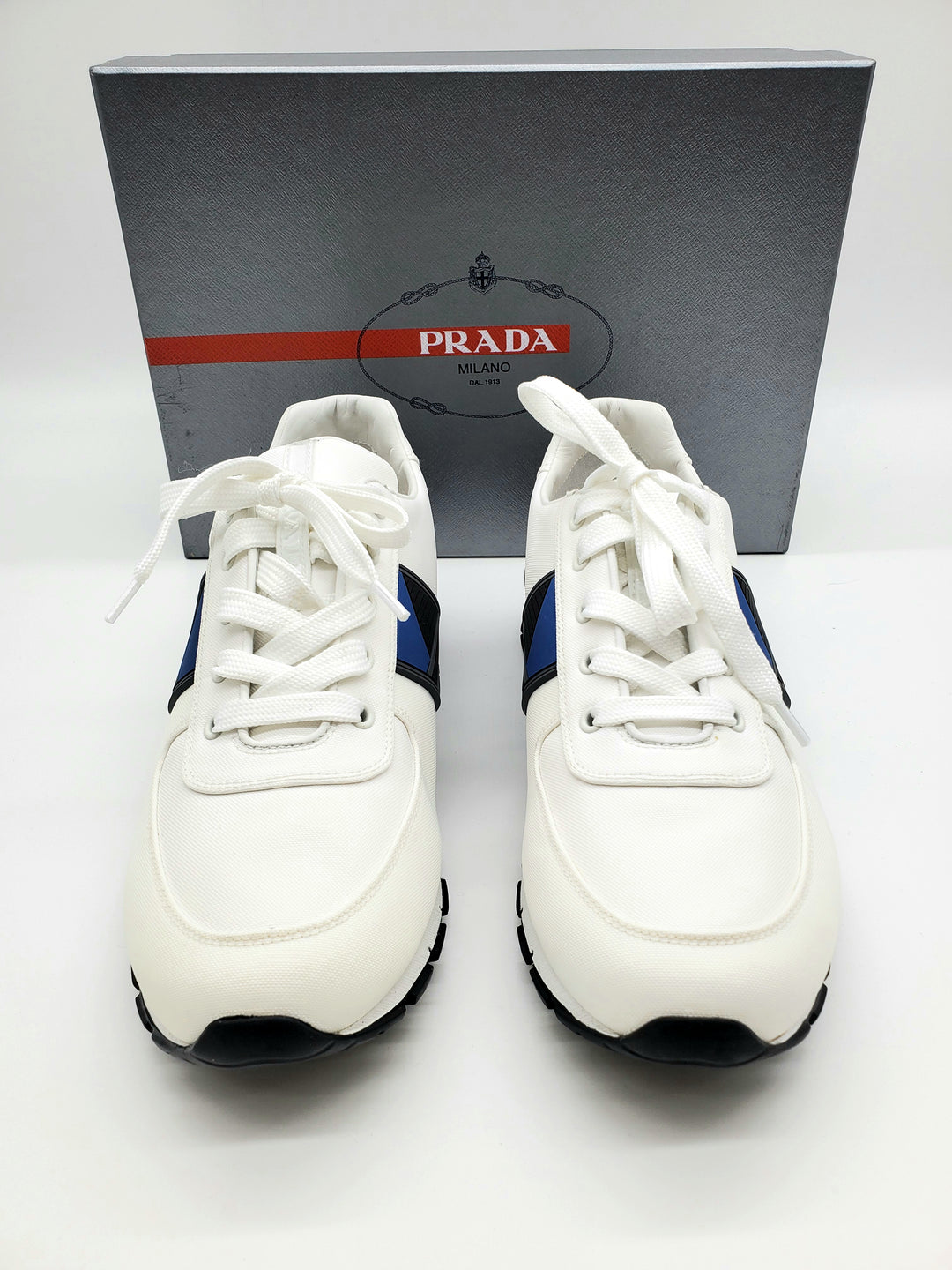 Primary Photo - BRAND: PRADA <BR>STYLE: SHOES ATHLETIC MEN'S <BR>COLOR: WHITE <BR>SIZE: 10 <BR>SKU: 262-26275-65057<BR>AS IS <BR>DESIGNER ITEM FINAL SALE