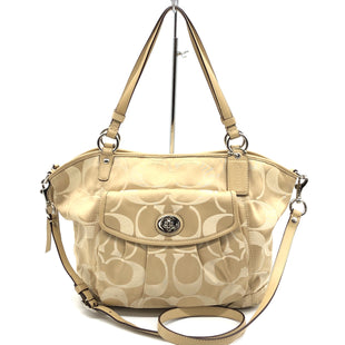 "Primary Photo - BRAND: COACH STYLE: HANDBAG DESIGNER COLOR: TAN SIZE: MEDIUM 11""H X 16""L X 5""W DROP: 9""SKU: 262-26241-45362GENTLE WEAR ON CORNERS • SOME VISIBLE SPOTS • AS IS"