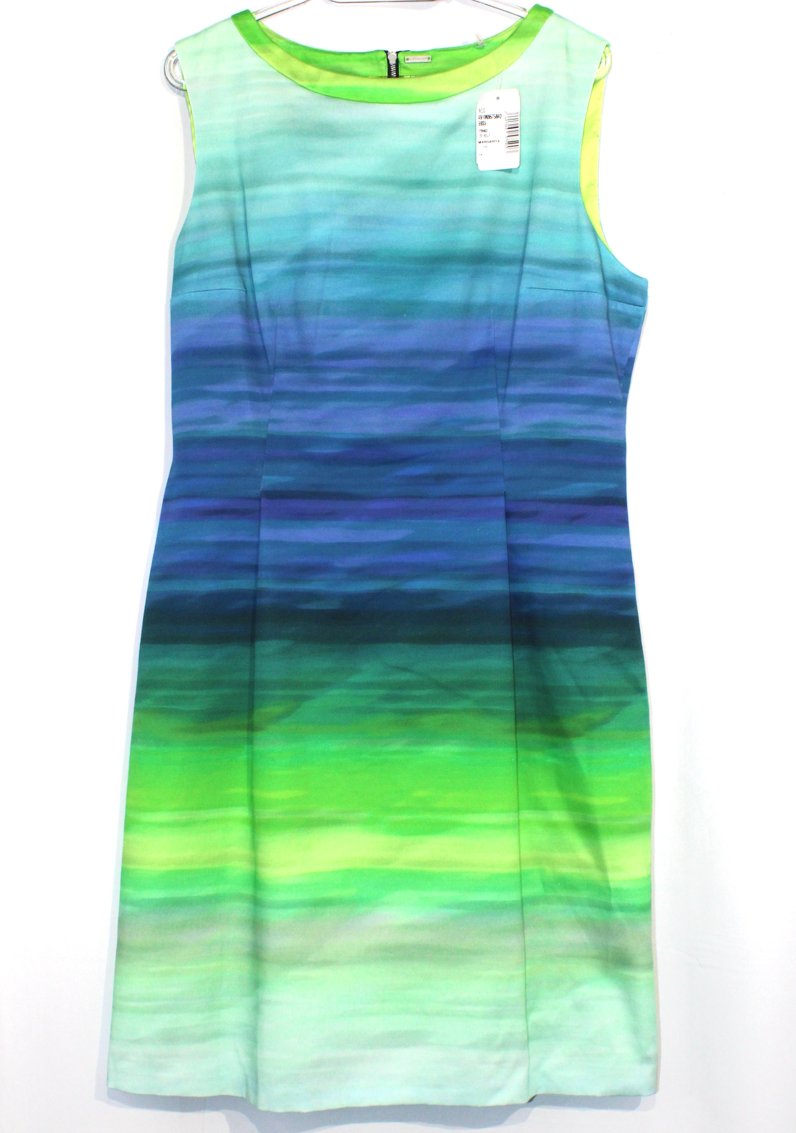 Primary Photo - <P>BRAND: ELIE TAHARI <BR>STYLE: DRESS SHORT SLEEVELESS <BR>COLOR: BLUE GREEN <BR>SIZE: XL/14<BR>SKU: 262-26211-134838<BR><BR></P> <P> </P> <P>NWT</P>