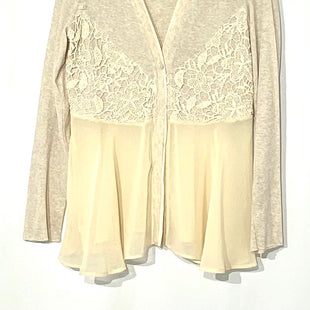 Primary Photo - BRAND: MYSTREE STYLE: TOP LONG SLEEVE CARDIGAN COLOR: CREAM SIZE: L SKU: 262-26241-42706