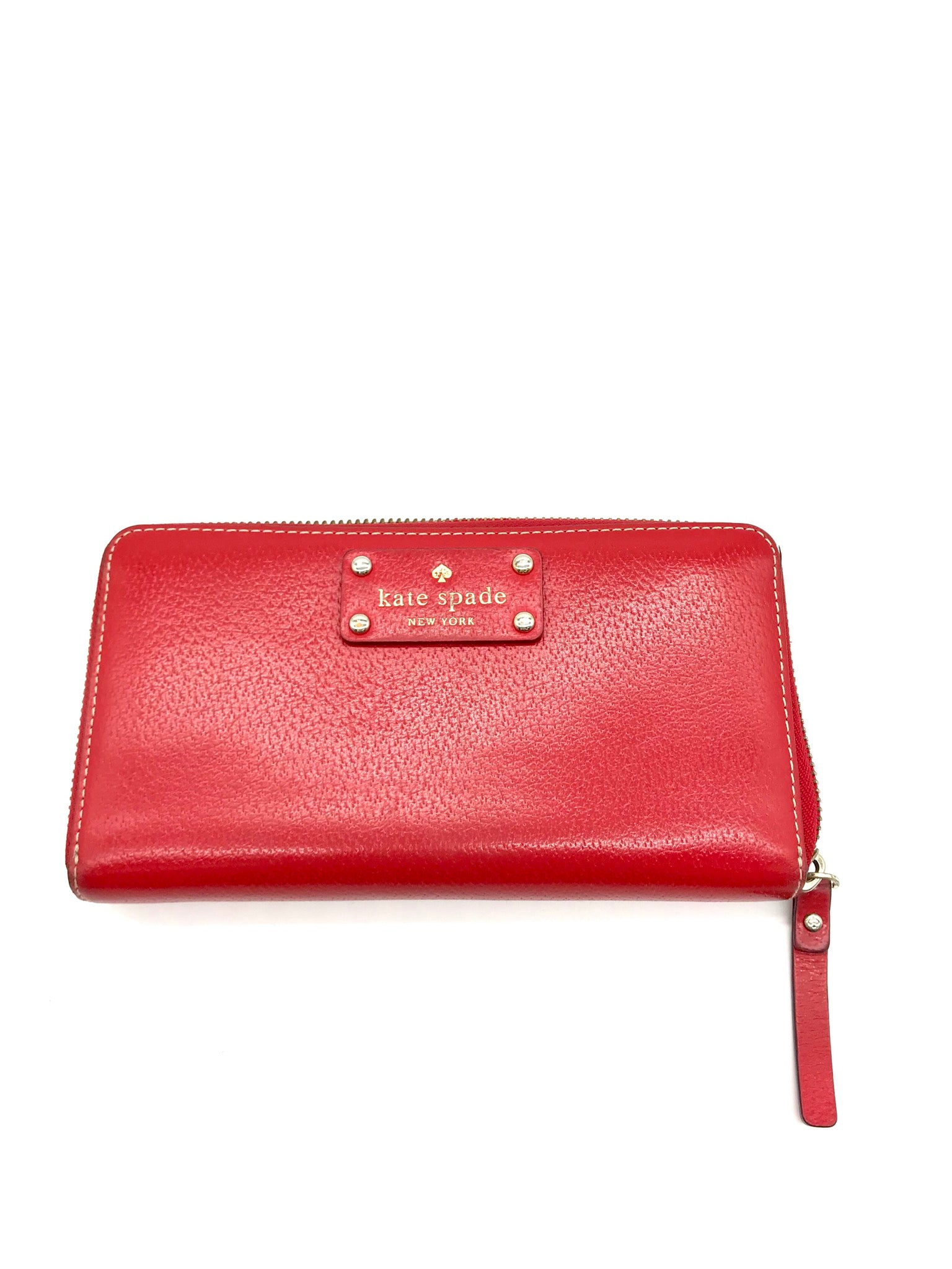 Primary Photo - BRAND: KATE SPADE <BR>STYLE: WALLET <BR>COLOR: RED <BR>SIZE: LARGE <BR>SKU: 262-26275-66087<BR>AS IS SLIGHT WEAR <BR>DESIGNER BRAND FINAL SALE