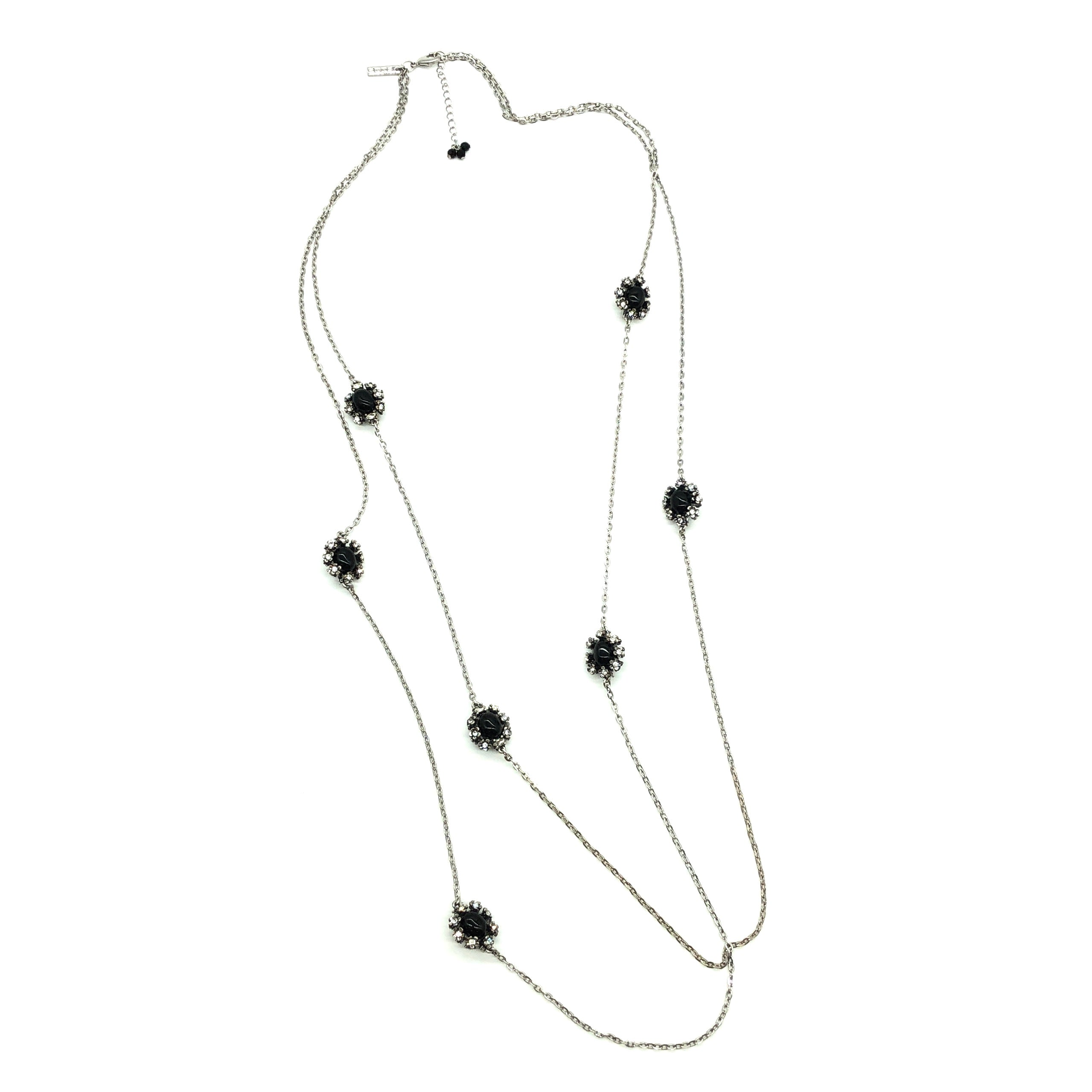 Primary Photo - BRAND:  WHITE HOUSE BLACK MARKET <BR>STYLE: LONG NECKLACE <BR>COLOR: BLACK | SILVER<BR>SKU: 262-26275-72898<BR>AS IS