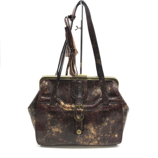 "Primary Photo - BRAND: PATRICIA NASH STYLE: HANDBAG DESIGNER COLOR: METALLIC SIZE: MEDIUM SKU: 262-26241-46085DESIGNER BRAND FINAL SALE AS IS APPROX 14""X10""X4""HANDLE DROP APPROX 9"""