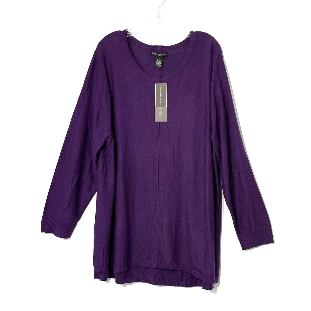 Primary Photo - BRAND:    TWO TWENTY FIVE <BR>STYLE: SWEATER LIGHTWEIGHT <BR>COLOR: PURPLE <BR>SIZE: 3X <BR>OTHER INFO: 225 - <BR>SKU: 262-26275-73827<BR>6% CASHMERE