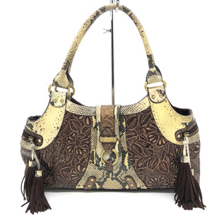 "Primary Photo - BRAND: SHARIF STYLE: HANDBAG COLOR: SNAKESKIN PRINT SIZE: LARGE SKU: 262-26275-75611AS IS GENTLE WEAR ON CORNERS APPROX 17""X4""X10.5"""