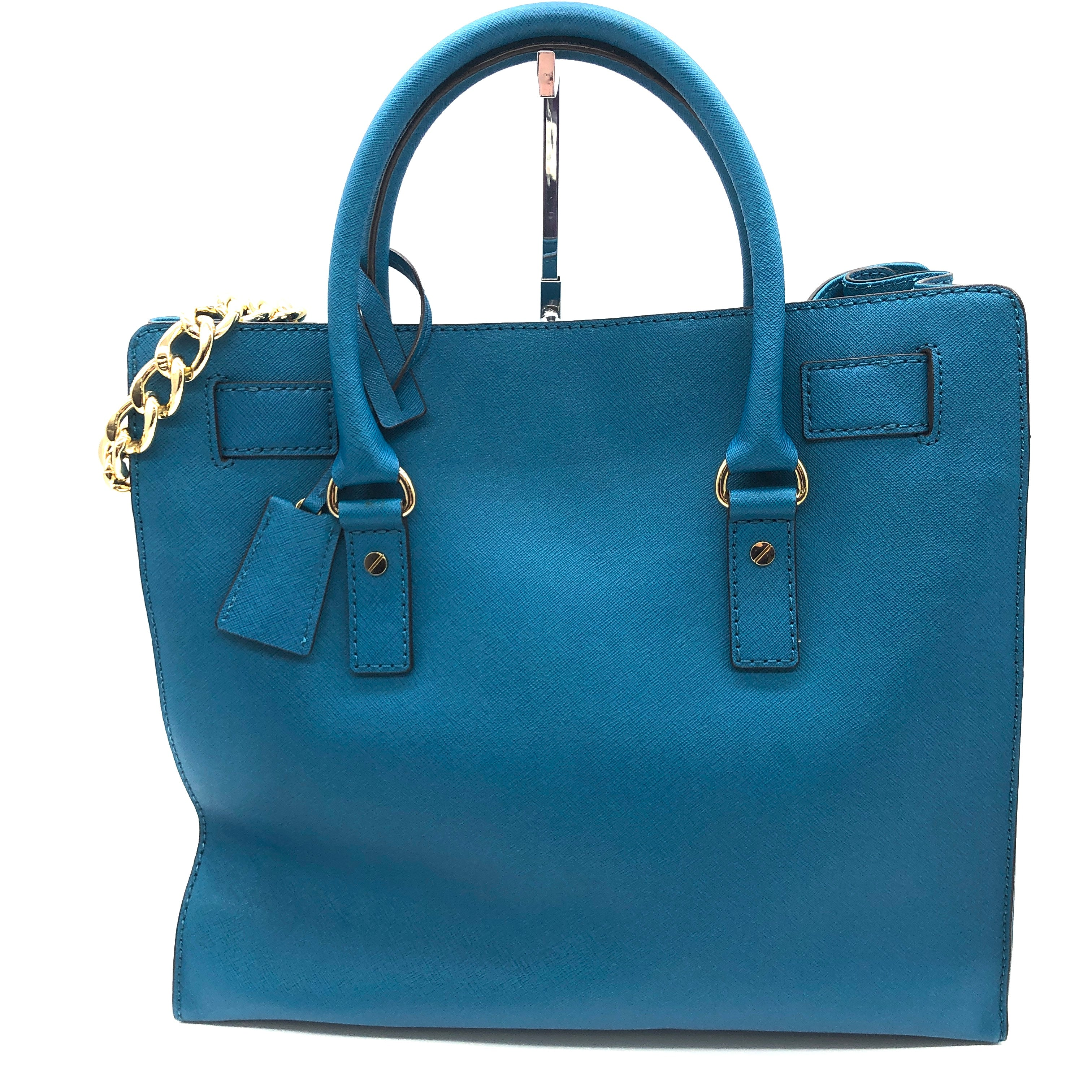 "Photo #1 - BRAND: MICHAEL KORS <BR>STYLE: HANDBAG DESIGNER <BR>COLOR: TEAL <BR>SIZE: MEDIUM <BR>SKU: 262-26275-74195<BR><BR>APPROX. 14.25""L X 13.5""H X 5.5""D. COLOR IS TEAL BUT TINT MAY BE SLIGHTLY BLUER THAN PHOTO SHOWS"