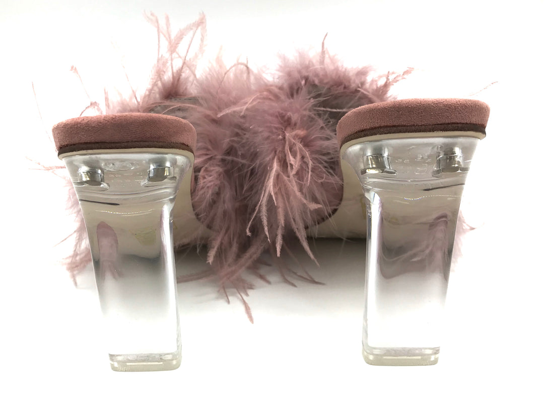 Photo #2 - BRAND: JEFFERY CAMPBELL <BR>STYLE: SANDALS LOW <BR>COLOR: LIGHT PINK <BR>SIZE: 6 <BR>SKU: 262-26241-41920<BR><BR>DYED TURKEY & OSTRICH FEATHERS