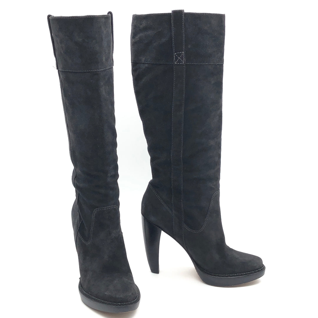 "Primary Photo - BRAND: MICHAEL KORS <BR>STYLE: BOOTS KNEE <BR>COLOR: BLACK <BR>SIZE: 10 <BR>SKU: 262-262101-2081<BR>CALF OPENING CIRCUMFERENCE: 16.5"" <BR>LOWER CIRCUMFERENCE: 12.5""<BR>NARROW TOES • GENTLE WEAR • 5"" HEEL HEIGHT • 15"" BOOTS HEIGHT •"