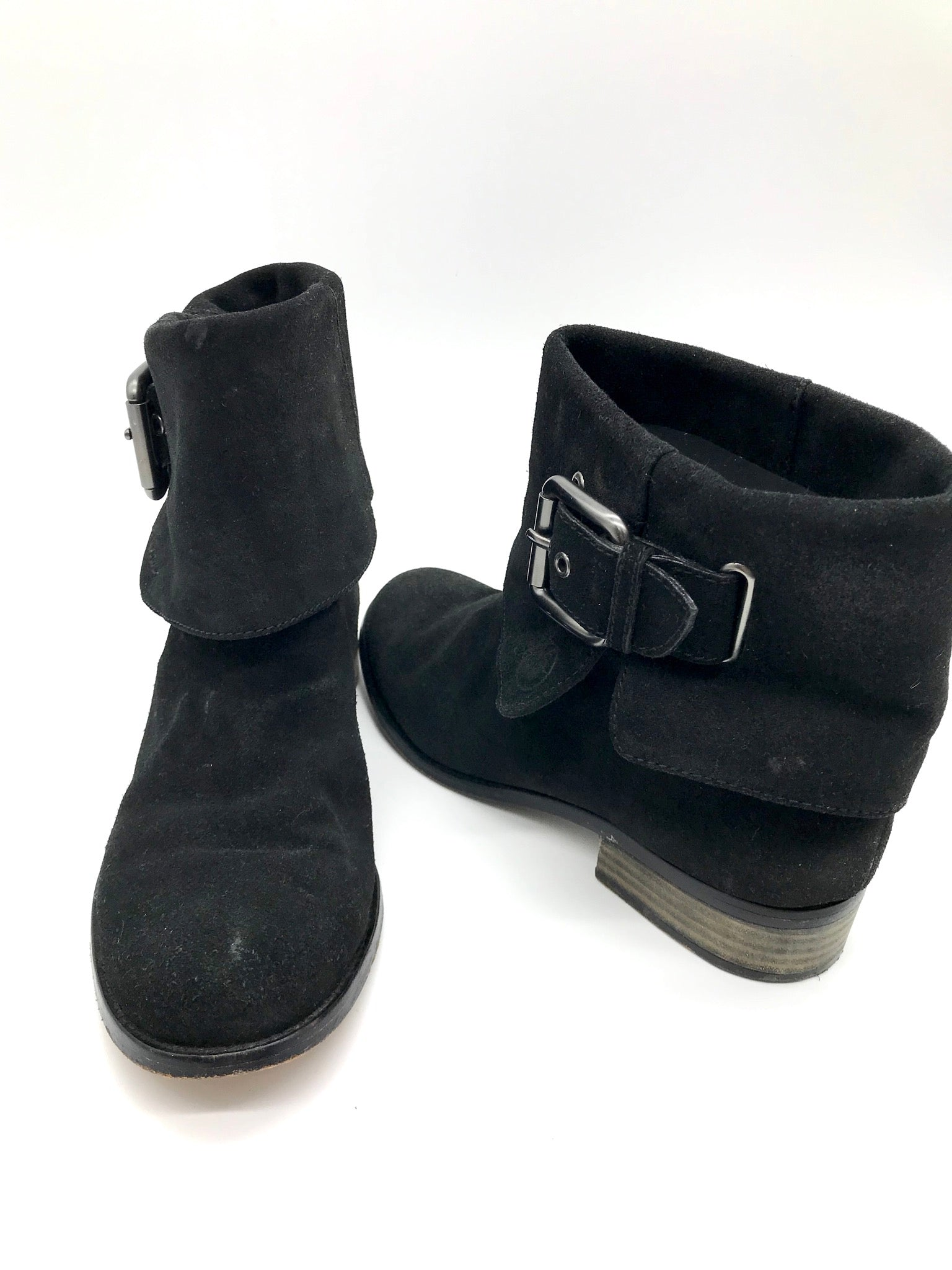 Photo #1 - BRAND: COACH <BR>STYLE: BOOTS ANKLE <BR>COLOR: BLACK <BR>SIZE: 7.5 <BR>SKU: 262-26275-54673<BR>SOME WEAR AROUND THE TOES - AS IS<BR>DESIGNER BRAND - FINAL SALE
