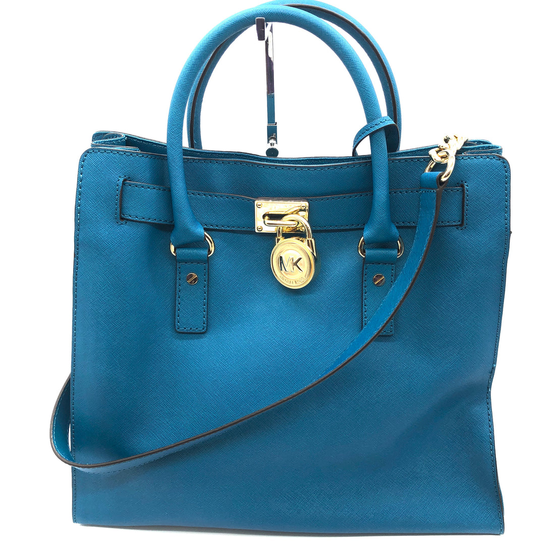 "Primary Photo - BRAND: MICHAEL KORS <BR>STYLE: HANDBAG DESIGNER <BR>COLOR: TEAL <BR>SIZE: MEDIUM <BR>SKU: 262-26275-74195<BR><BR>APPROX. 14.25""L X 13.5""H X 5.5""D. COLOR IS TEAL BUT TINT MAY BE SLIGHTLY BLUER THAN PHOTO SHOWS"