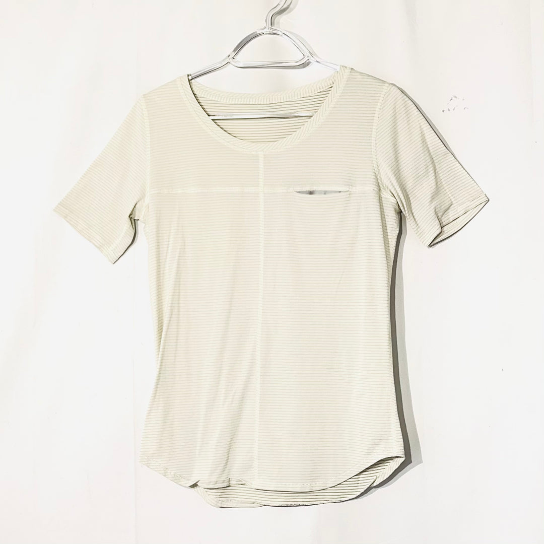 Primary Photo - BRAND: LULULEMON <BR>STYLE: ATHLETIC TOP SHORT SLEEVE <BR>COLOR: OFF WHITE <BR>SIZE: M <BR>SKU: 262-26275-74206<BR>SIZE TAG MISSING AS IS