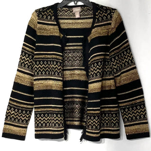 Primary Photo - BRAND: CHICOS OSTYLE: SWEATER CARDIGAN HEAVYWEIGHT COLOR: BLACK GOLDSIZE: S SKU: 262-26275-77888