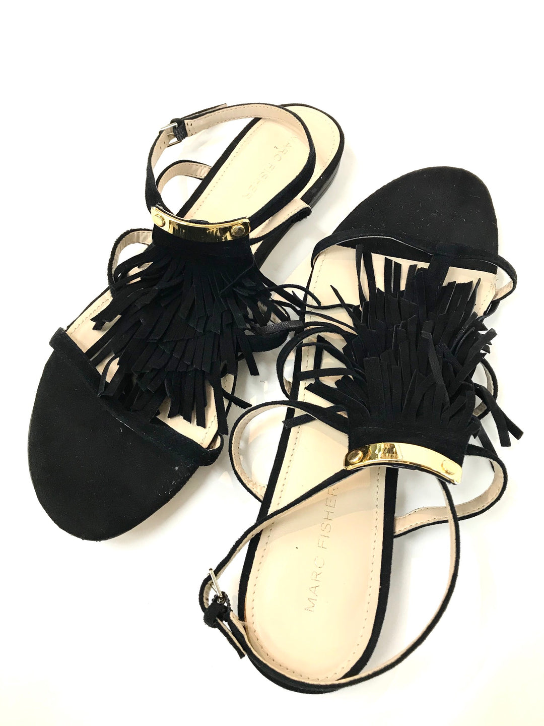 Photo #1 - BRAND: MARC FISHER <BR>STYLE: SANDALS FLAT <BR>COLOR: BLACK <BR>SIZE: 9 <BR>SKU: 262-26275-61565<BR>AS IS