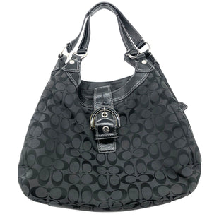 "Primary Photo - BRAND: COACH STYLE: HANDBAG DESIGNER COLOR: BLACK SIZE: MEDIUM SKU: 262-26275-73974APPROX. 15""L X 11""H X 4.5""D. GENTLE WEAR INSIDE AND SLIGHT WEAR TO CORNERS"