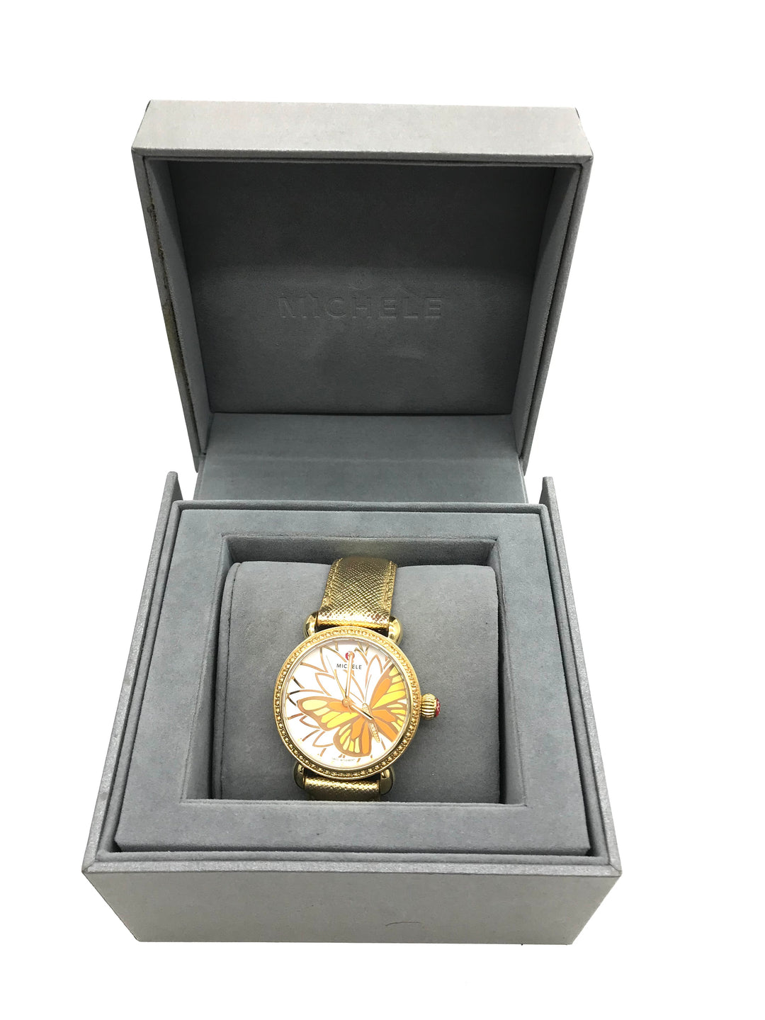 Primary Photo - <P>BRAND: MICHELE <BR>STYLE: LIMITED EDITION BUTTERFLY WATCH - GARDEN PARTY COLLECTION <BR>COLOR: BUTTERFLIES <BR>SKU: 262-26275-69361<BR>WEAR SHOWS ON THE STRAPS <BR>BATTERY NEEDED - AS IS</P>