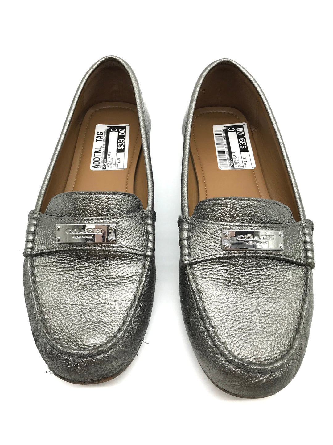 Photo #1 - BRAND: COACH <BR>STYLE: SHOES FLATS <BR>COLOR: METALLIC <BR>SIZE: 8.5 <BR>SKU: 262-26241-40507<BR>IN GOOD SHAPE AND CONDITION