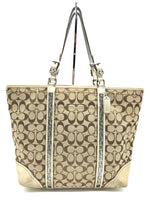 "Primary Photo - BRAND: COACH<BR>STYLE: HANDBAG DESIGNER <BR>COLOR: GOLD <BR>SIZE: LARGE 13""H X 17""L X 2.75""W<BR>STRAP DROP: 9""<BR>SKU: 262-26275-51069<BR>WEAR SHOWS • VISIBLE STAINS ON THE INTERIOR LININGS • AS IS"